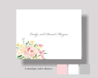 PERSONALIZED WEDDING Thank You Cards Watercolor Floral Thank You Notecards Boxed Set of 10 Bridal Shower Thank You Cards Womens Stationery