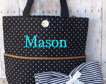 Personalized Diaper Bag, Black White Polka Dots, Monogrammed Baby Bag, Boy or Girl