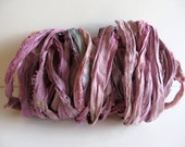 Silk Sari Ribbon, Recycled Pink & Lavender Sari Ribbon, 10 Yards