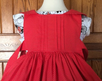 Red dotted pinafore girls, toddler, infant.