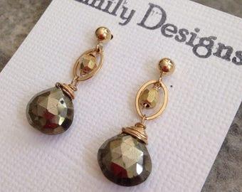 Pyrite drop post earrings on 14 k gold
