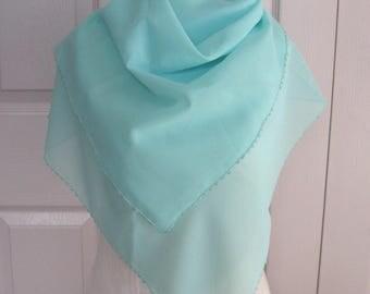chiffon Scarf .  aqua Chiffon Scarf . turquoise chiffon scarf . headscarf. crochet edge headscarf . scarf . Turkish headscarf