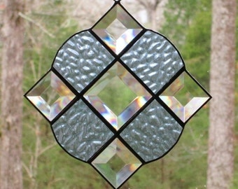 Stained Glass Suncatcher - Victorian in Textured Light Blue