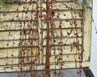 Willow Tree with Stars in Burgundy
