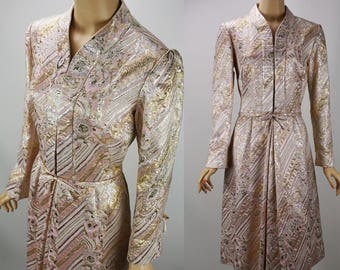 Vintage 1960s Party Dress Pink and Gold Brocade by Harmay B40 W30