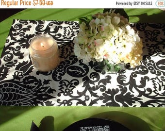 "ON SALE NOW Super Sale Runner Was 15.00 12x58"" Black on White Damask Amsterdam Table runner"