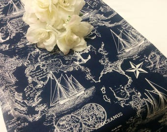 NAVY NAUTICAL MAPS Table Runner or Napkin or Placemat,  blue runner,  Ships, Nautical, Beach, Wedding Bridal, Shower,