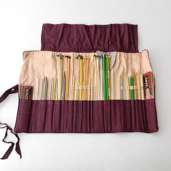Vintage Knitting Organizer with 100+ Needles