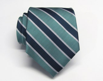 Mens Tie. Dusty Teal Green Navy Blue Silver Stripes Mens Necktie With Matching Pocket Square Option