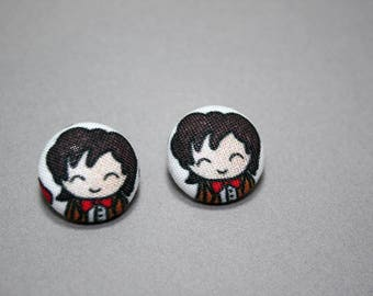 11th Doctor Button Earrings - Doctor Who Doodle - Post Fabric Covered Studs