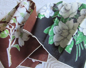 Pair Vintage 1950s Ladies DRAMATIC Printed Linen Handkerchiefs ROSES & DOGWOOD Birthday Mothers Day Gift Valentine Love