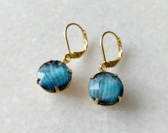 Teal Blue Drop Earrings - Blue Earrings - Vintage Inspired Jewelry - Vintage Cabochon - Simple Round Drops Earrings (SD1255)