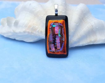 Gorgeous One of A Kind Orange Copper Multi Color Dichroic Fused Glass Pendant