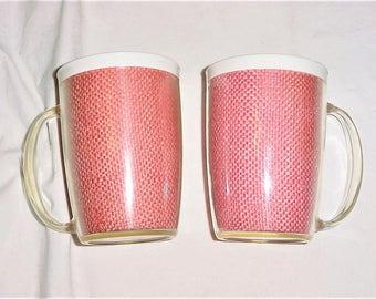 Vintage 60s Pair Thermal Straw Raffiaware Mugs Pink White