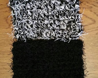 Crochet scrubbies set of 2 in Black and Black and White