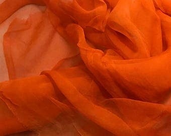 Silk Gauze Chiffon - Hand Dyed Persimmon Orange - 1/2 Yard
