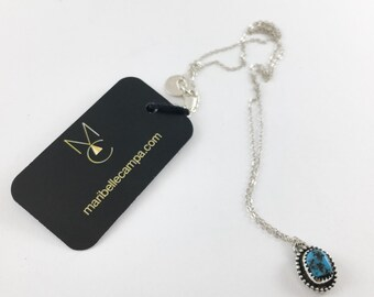 Sleeping Beauty Turquoise Sterling Silver Artisan Pendant Necklace One of a Kind READY TO SHIP by Maribelle Campa