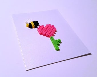 Bee My Love - Perler Fuse Bead Greeting Card - Love Note - Bumblebee - Honey Bee - Heart - Flower - Spring - Mother's Day