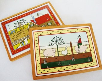 vintage tile trivets wall plaques taylor and ng cup coasters farmhouse style