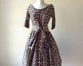 Leopard print dress | 1950s cotton dress | vintage 50s dress