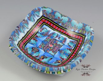 Polymer Clay Ring Bowl, Turquoise Blue, Red, Purple
