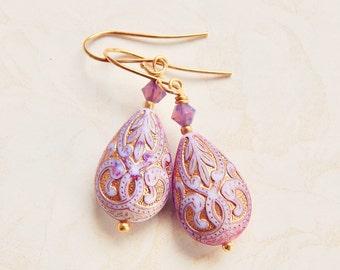 Lorena - lavender teardrop earrings - paisley earrings - purple earrings - lavender earrings - Moroccan earrings