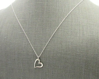 Silver Heart Necklace | Sterling Silver Heart Charm Necklace | .925 Silver Cutout Heart Charm | Heart Jewelry | Eriadesigns