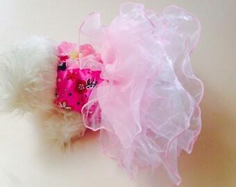 XS Primrose Ruffle Harness Dog Dress-Pink Dress-Chihuahua-Yorkie-Small Dog