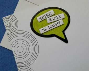 Think Happy Be Happy handmade trifold greeting card with concentric circles