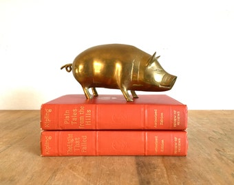 "Mid Century Brass Pig Figurine 8"" Long"