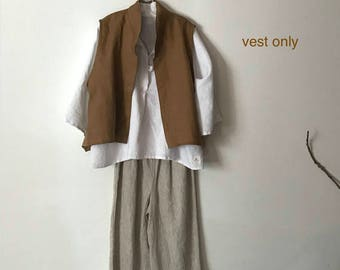 minimalist ginger linen vest only ready to wear size XL
