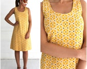 Vintage 1960's Bright Yellow Terry Cloth Sleeveless Shift Dress with Geometric Circles | Medium
