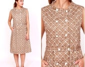 Vintage 1960s Brown and White Geometric Sleeveless Shift Dress with Square Buttons by McMullen | Medium