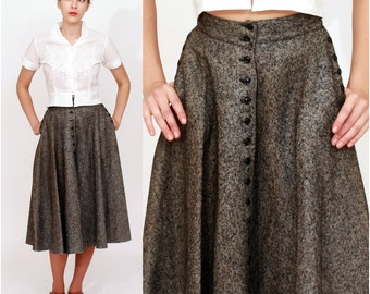 Vintage 1950s High Waisted Dark Gray Felted Wool Circle Skirt | XS