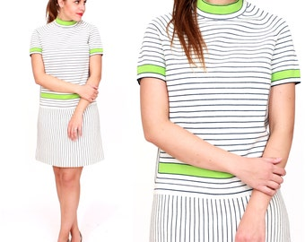 Vintage 1960s Mod White, Navy and Neon Green Striped Shift Knit Dress by Import Corner | Small/Medium