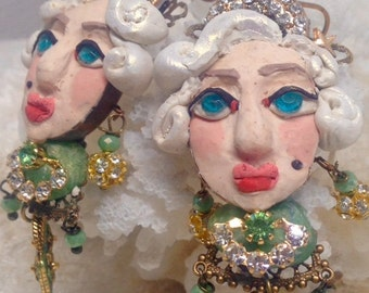 Lilygrace Handmodelled Blonde Bombshell Bust Earrings with Vintage Rhinestones