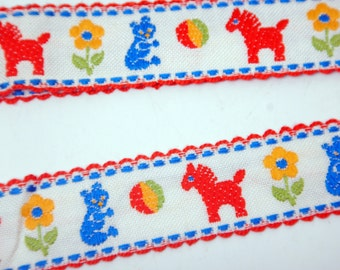 """Woven Jacquard Ribbon Trim 1"""" Wide- Embroidery - Children - Kid- Baby - Horse Teddy Bear Pattern"""