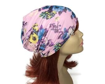 CUSTOM SIZE Summer Slouchy Hat Mauve Summer Beanie Lightweight Pink Floral Hat Pink Mesh Hat Lightweight Slouchy Hat Pink Slouchy Hat Beanie