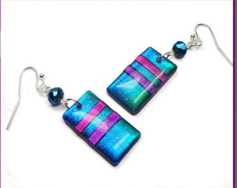 Sapphire Blue Dichroic Earrings- polymer clay jewelry- Resin earrings- Rainbow Dangle Earrings Gifts for Her Birthday