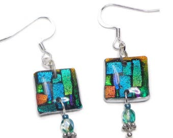 Emerald Dichroic Earrings- polymer clay jewelry- Resin earrings- Crystal Earrings- Ready to Ship- Gifts for Her Birthday Anniversary