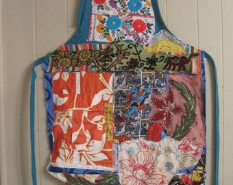 Altered Fabric Folk Art Collage APRON - Original Vintage Textile Assemblage - Recycled Patchwork Crazy Quilt -  myBonny Random Scraps