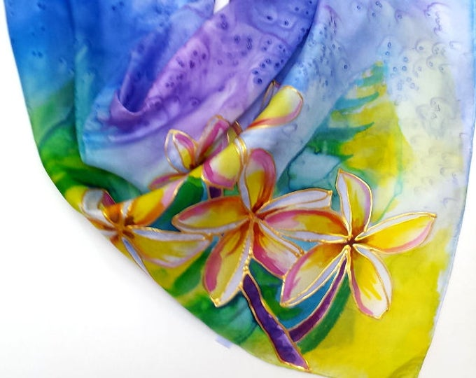 Plumeria Original Silk Scarf Handpainted in Kauai Hawaii Silk Scarves Birthday Gift Wearable Art blue yellow purple tropical flowers for her
