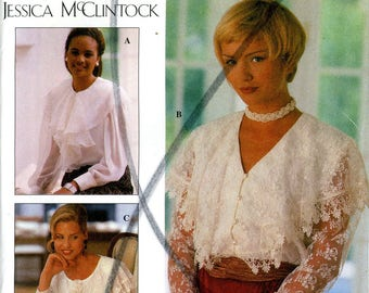 Simplicity 8811 Jessica McClintock Blouse Big Capelet Collar Lace Size 6 8 10 Uncut Vintage Sewing Pattern 1994 1990s