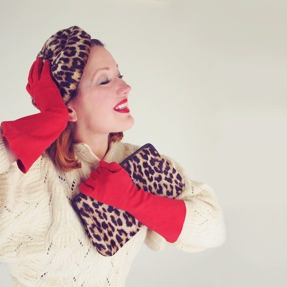 60s Faux Leopard Beret Hat and Matching Convertible Clutch Bag
