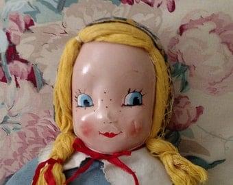 Vintage Dime Store Rag Doll, Five & Dime Doll, Blonde Rag Doll