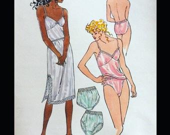 Vintage 80s Lacy Lace Trimmed Ladies Half Slip Camisole Panties Underwear Lingerie Sewing Pattern XS S M L XL