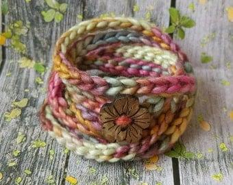 Handmade crocheted bracelet, wraparound, gift