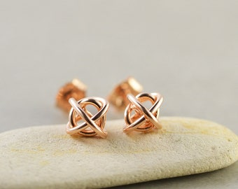 Rose Gold Knot Studs, 6mm Post Earrings, Knotted Jewelry, Geometirc, Love Knots, Tie The Knot, Bridesmaid Gift