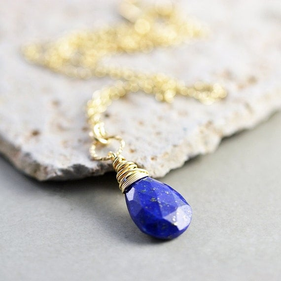 Lapis Necklace, Blue Stone Necklace, December Birthstone, Blue Pendant Necklace