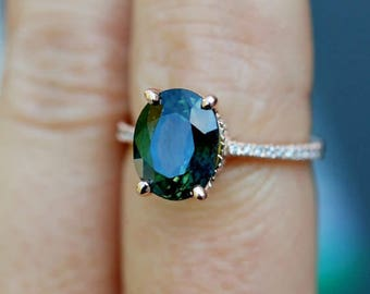 Green sapphire engagement ring. Peacock green sapphire 3.96ct oval halo diamond  ring 14k Rose gold. Engagemet rings by Eidel